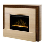 "Gibraltar 33"" Wall Mantel and Contemporary Fireplace, Travertine and Burnished Walnut - Dimplex"