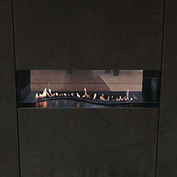 Boulevard Contemporary Curved Vent Free See-Thru Fireplace, Remote ...