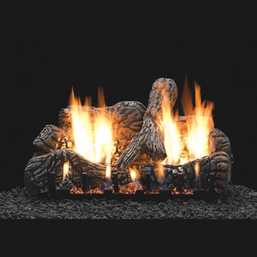 "16"" Charred Oak Ceramic Logs, 16"" Slope Glaze Vent Free Burner (Millivolt/Pilot) - Empire Comfort Systems"